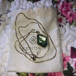 Kendra Scott olive Epidote stone necklace